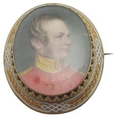 Miniature Portrait Enamel 15k Gold Brooch Pin Antique Victorian c1860.