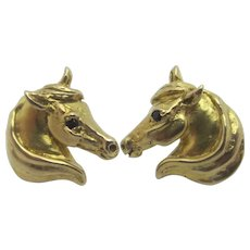 Horse Head 9k Gold Stud Earrings Vintage English.