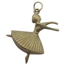 Dancer 9k Gold Pendant Charm Vintage English 1962.