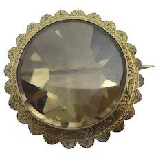 Citrine in 9k Gold Brooch Pin Antique Victorian c1860.