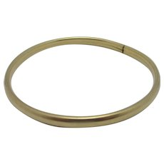 Plain Bangle Bracelet 9k Gold Vintage English 1984.