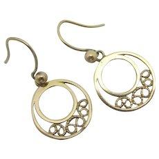 9k Gold Dangling Ear Pendant Earrings Vintage c1980.