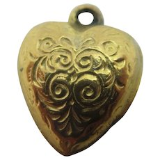 Engraved 9k Gold Heart Pendant Charm Vintage Art Deco c1920.