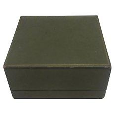 Green Leatherette Cardboard Jewellery Box Vintage Art Deco c1920.