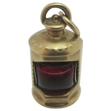 Red Port Ships Lamp 9k Gold Pendant Charm Vintage English c1970.