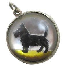 Scottish Terrier Dog Essex Crystal Sterling Silver Pendant Charm Antique Victorian c1890.