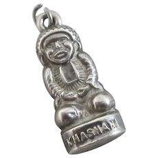 Khashani God Idol Sterling Silver Pendant Charm Vintage Art Deco c1920.
