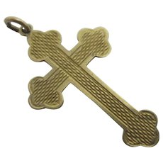 Engine Turned 9k Gold Cross Pendant Vintage Art Deco c1930