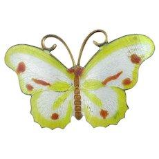 Enamel Butterfly Brooch Pin Vintage Art Deco c1920.
