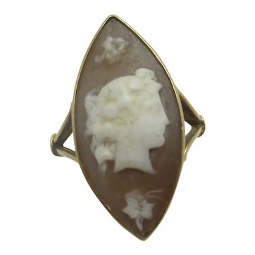 Shell Cameo of Side Profile Lady in 9k Gold Ring Antique Victorian c1860