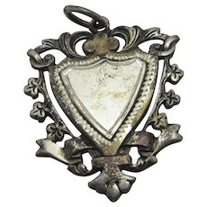 Shield watch Fob Pendant Sterling Silver Vintage Art Deco c1920.