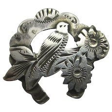 Lucky Horseshoe Dove Bird & Forget Me Not Sterling Silver Brooch Pin Antique Edwardian English 1902.