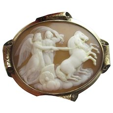 Angles Riding in Horse Chariot Shell Cameo Pinchbeck Brooch Pin Antique Victorian c1840.