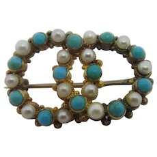 Turquoise & Seed Pearl 15k Gold Brooch Pin Antique Victorian c1860