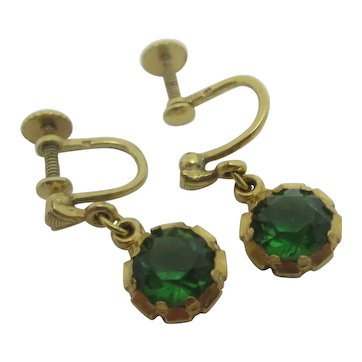 Emerald Paste 9k Gold Dangling Ear Pendant Earrings Vintage Art Deco c1920