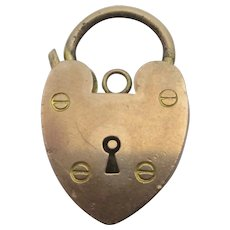 Heart Padlock Findings 9k Gold Antique Victorian c1890.