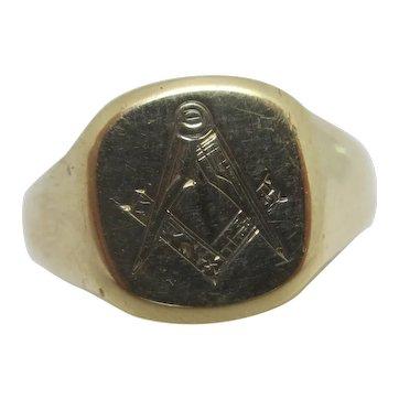 Masonic 9k Gold Signet Ring English Vintage c1970