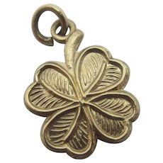 Lucky 4 Leaf Clover 9k Gold Pendant Charm Vintage English 1962.