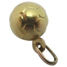 Football Sport 9k Gold Pendant Charm Vintage c1960.