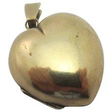 Puffy Heart Pendant Locket 9k Gold Antique Victorian c1860.