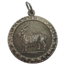 Chinese Year of Goat Sterling Silver Pendant Charm Vintage c1960.