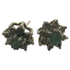Emerald Diamond 9k Gold Stud Earrings Vintage English 1987.