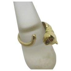 Cat Animal 18k Gold Ring Diamond Eye Vintage c1980.