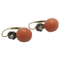 Coral & Diamond 14k Gold Pendant Earrings Vintage Art Deco c1920.