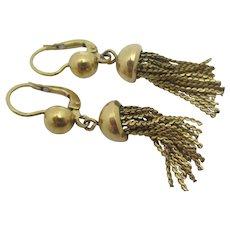 Tassel 18k Gold Dangling Pendant Earrings Vintage Art Deco c1920.