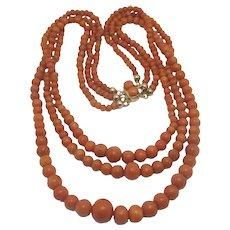 Triple Strand Graduating Coral Bead Necklace 14k Gold Vintage Art Deco c1920.
