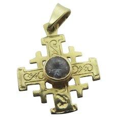 Jerusalem Cross Quartz 14k Gold Pendant Charm Vintage Art Deco c1920.
