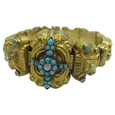 Turquoise Seed Pearl Cross 18k Gold Expanding Bangle Bracelet Antique Victorian c1860.