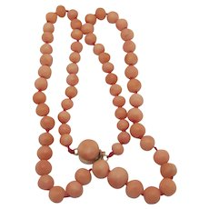 Graduating Coral Bead Necklace 14k Gold Clasp Vintage Art Deco c1920.