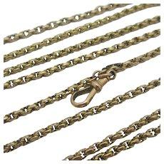 Long Guard Chain Necklace 9k Gold Antique Victorian c1860.