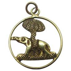 Elephant 18k Gold Pendant Charm Vintage Art Deco c1920.
