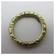 Embossed 15k Gold Split Ring Findings 1.5cm Dia Antique Victorian c1860