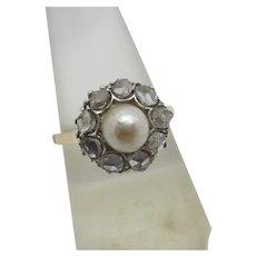Pearl Mine Cut Diamond 18k Gold Ring Antique Victorian c1860.