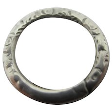 Embossed Sterling Silver Split Ring Findings 1.5cm Dia Antique Victorian
