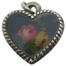 Rose Flower Heart White Metal Pendant Charm Vintage c1980.