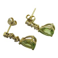 Peridot & Faux Diamond 9k Gold on Sterling Silver Dangling Ear Pendant Earrings Vintage c1980.