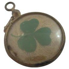 Lucky Shamrock Mourning Hair Pendant Locket Antique Victorian c1890
