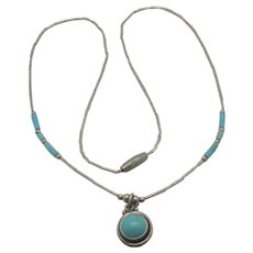 Turquoise Sterling Silver Navajo Zuni Pendant Necklace Vintage c1970.