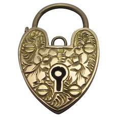 Forget Me Not Heart Padlock Findings 9k Gold Vintage Art Deco.
