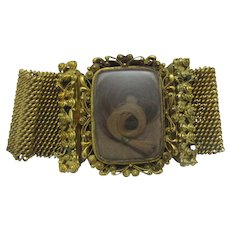 Mourning Hair Cannetille Pinchbeck Bracelet Antique Georgian c1820.