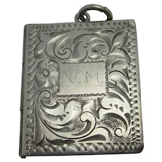 Silver Book Pendant Locket Antique Victorian c1890