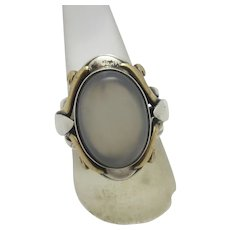 Chalcedony Sterling Silver & 9k Gold Ring Vintage c1980 by Payitaht.