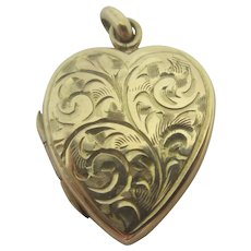 Fern Leaf Engraved Heart Pendant Locket Vintage English 1965