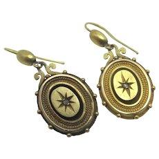 Diamond 15k Gold Dangling Ear Pendant Earrings Antique Victorian c1890.