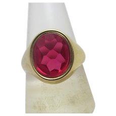 Ruby in 9k Gold Signet Ring Vintage English 1967