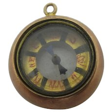 Compass 9k Gold Pendant Fob Charm Antique Victorian c1880.